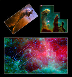 <p><strong>Fig. 1:</strong> Eagle Nebula imaged by Hubble Space Telescope.</p>