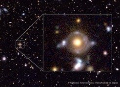"<p class=""Body""><em>Eye of Horus </em>in pseudo colour. There are two arcs/rings with different colours, which are lensed images of two background galaxies.</p>"