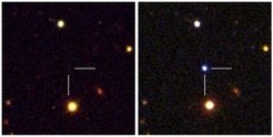 <p>These two images show observations of a superluminous supernova detected by the Palomar Transient Factory project in 2009 (PTF09cnd, z= 0.258). The pre-explosion image is from Sloan Digital Sky archive data, the post-explosion images are composed from observations made with the Palomar Observatory's 1.5-m telescope, the Wise Observatory's 1.0-m telescope and the Ultraviolet/Optical Telescope on board NASA's Swift satellite.</p>