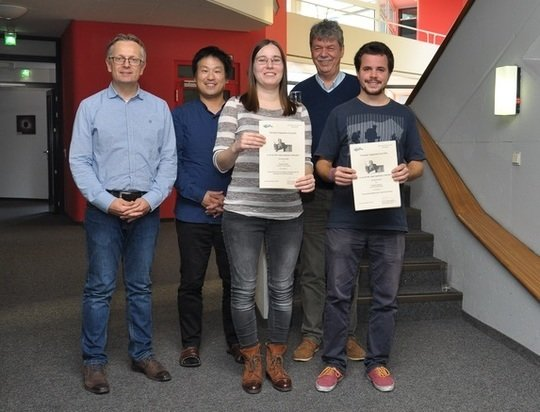 The two laureates, Dijana Vrbanec (middle) and Titouan Lazeyras (right) with MPA directors Volker Springel, Eiichiro Komatsu and Simon White (back row, from left).