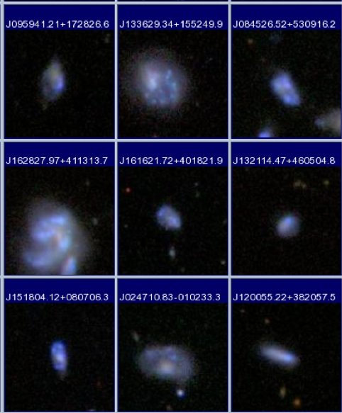 <strong>Figure 2:</strong> Postage stamp images of some of the low mass galaxies in the SDSS that are currently undergoing strong bursts.