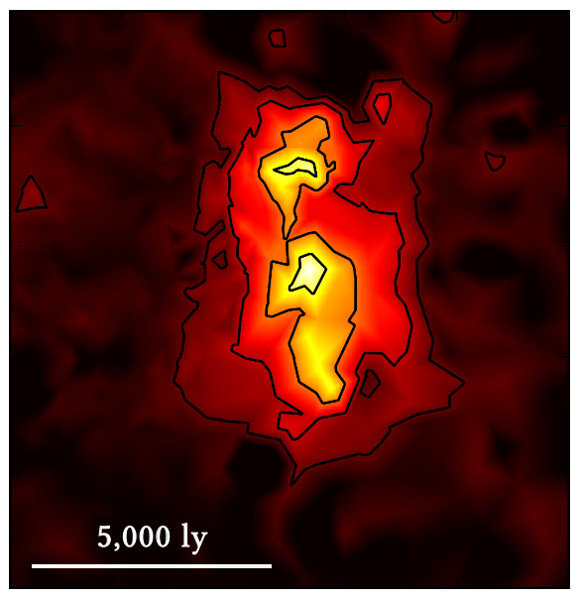 <strong>Fig. 3</strong> This map shows the reconstructed star formation rate of the distant galaxy, which is actually quite small (as indicated by the length scale in light-years). The colour coding shows the amount of dust heated by radiation from the young stars.