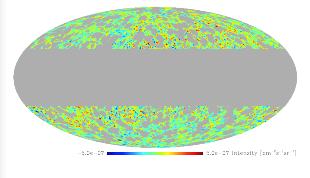 Fluctuations in the isotropic gamma-ray background, based on 81 months of data. Emission from our own Galaxy, the Milky Way, is masked in grey.