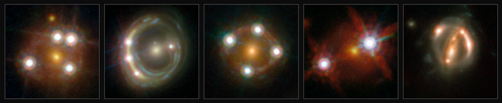 This montage shows the five lensed quasars and the foreground galaxies studied by the H0LiCOW collaboration. Using these objects astronomers were able to make an independent measurement of the Hubble constant. They calculated that the Universe is actually expanding faster than expected on the basis of our cosmological model.