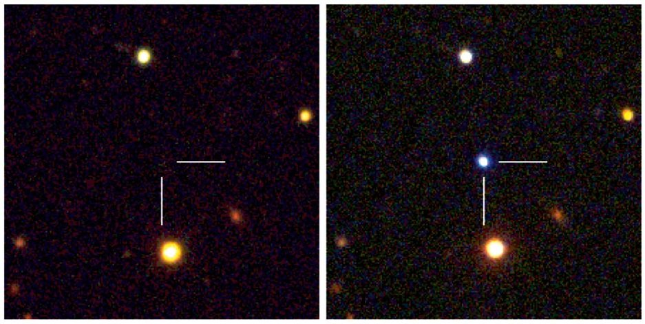 These two images show observations of a superluminous supernova detected by the Palomar Transient Factory project in 2009 (PTF09cnd, z= 0.258). The pre-explosion image is from Sloan Digital Sky archive data, the post-explosion images are composed from observations made with the Palomar Observatory's 1.5-m telescope, the Wise Observatory's 1.0-m telescope and the Ultraviolet/Optical Telescope on board NASA's Swift satellite.