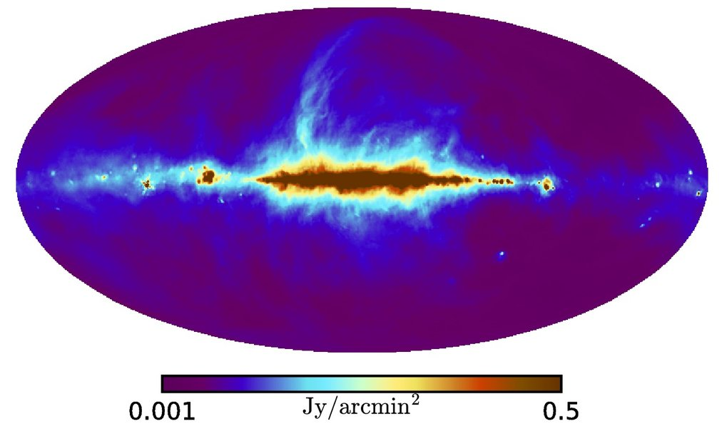 Fig. 1: Radio map of the Milky Way. This map shows the amount of electrons with nearly the speed of light times combined with the magnitude of the transverse component of the galactic magnetic field, projected along each line of sight through the Milky Way.