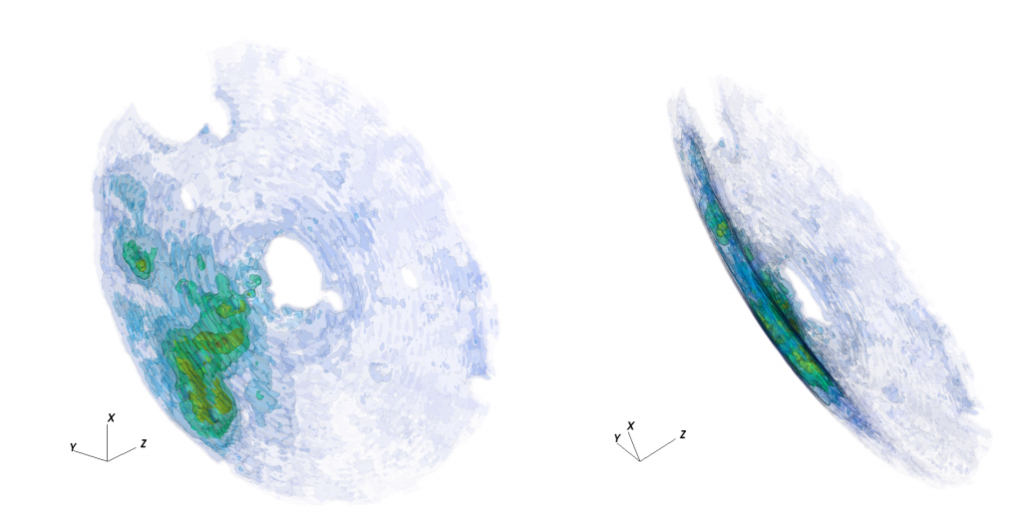 "Figure 3. Reconstructed 3D map (viewed at two different angles) of the molecular gas density distribution in vicinity of Sgr A*. This map is based on 15 years of XMM-Newton observations, leading to a thickness of the probed region of about 3.5 parsec. The characteristic ""saucer"" shape of the region is driven by the condition of a constant time delay after the flare. The ""holes"" in the map correspond to excised regions contaminated by bright compact sources."