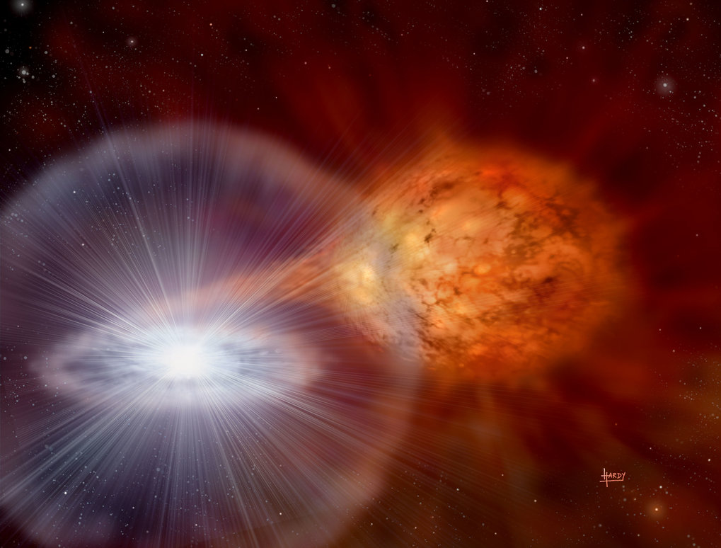 Artist's conception of a white dwarf slowly accreting matter from a companion star.