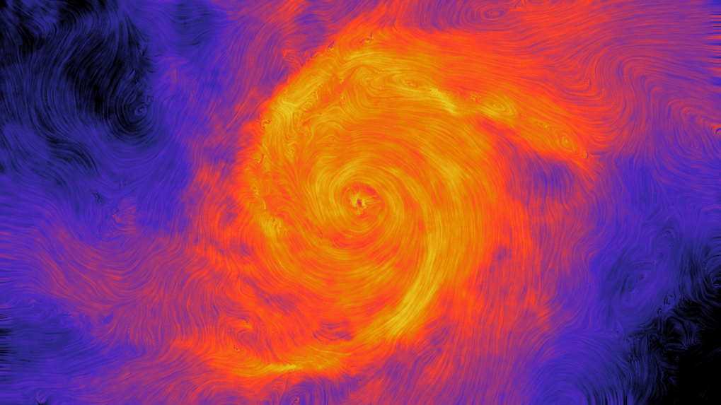 Magnetic field in a galaxy simulated with Auriga.