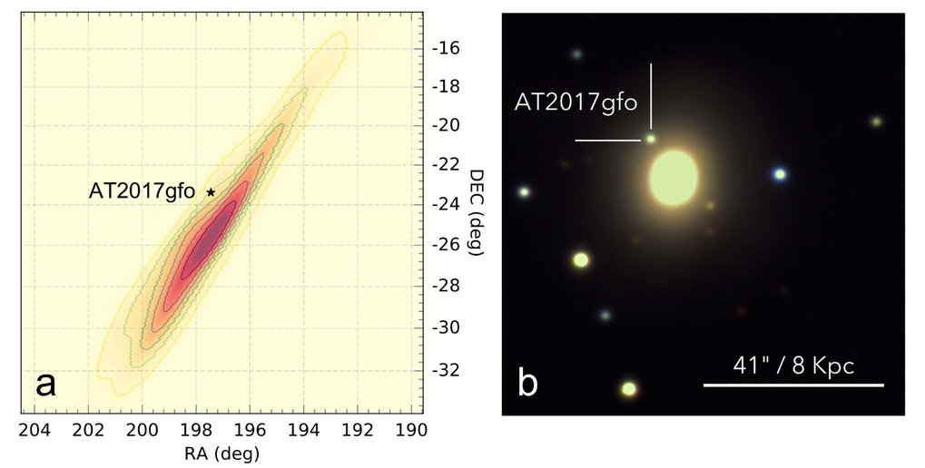 <p>Left: The position of the kilonova in comparison to the predicted position from LIGO/Virgo. </p> <p>Right: Colour composite image of the GROND instrument, about 1.5 days after the discovery of the GRB/gravitational wave signal. The extended source is the bright central region of the galaxy NGC 4993.</p>