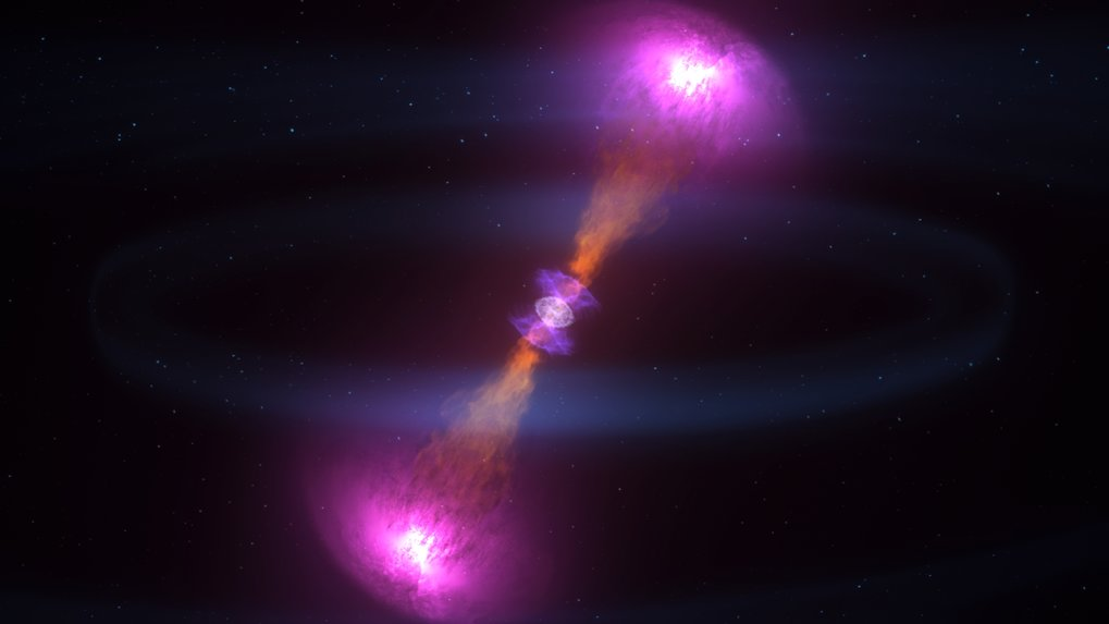 <p>When neutron stars collide, the explosion blasts some of the debris away in particle jets moving at nearly the speed of light, as shown in this illustration. The jets produce a brief burst of gamma rays (magenta). The cloud around the resulting black hole at the centre produces the kilonova's visible and infrared light. Within this neutron-rich debris, large quantities of some of the universe's heaviest elements were forged.</p>