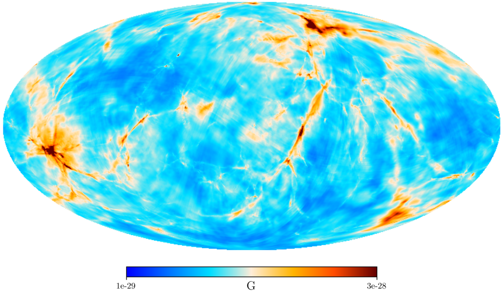 <p>Fig. 1: Sky view of the Harrison magnetic field strength averaged within a sphere with 300 million light years radius around the Earth. The region with stronger fields on the left side of the image is the Perseus Pisces galaxy cluster, the one in the upper part is the Virgo cluster.</p>