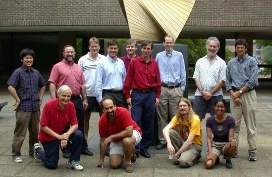 The WMAP science team during a meeting at Princeton in 2002 with Eiichiro Komatsu on the left.