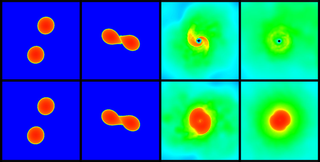 The upper and lower series of pictures each show a simulation of a neutron star merger. In the scenario displayed in the upper panels the star collapses after the merger and forms a black hole, whereas the scenario displayed in the lower row leads to an at least temporarily stable star.