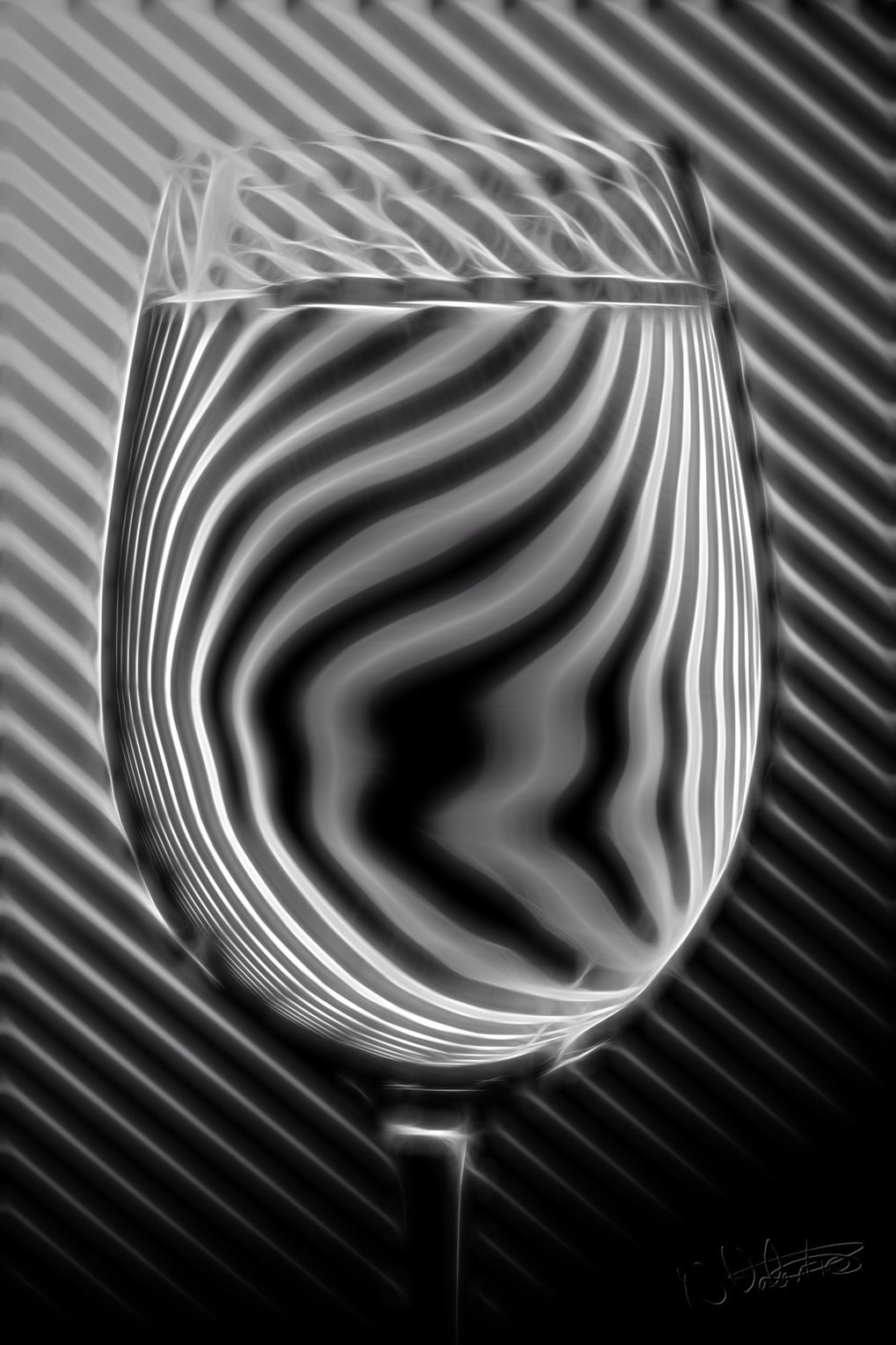 This picture illustrates the refraction of light by a glass of water, which has a refractive index for visible light greater than one.