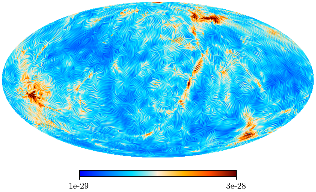 At the very beginning of the Universe, not only elementary particles and radiation were generated but also magnetic fields. A team of researchers led by the Max Planck Institute for Astrophysics now calculated what these magnetic fields should look like today in the local universe – in great detail and in 3D. Thus, the researchers were able to predict the structure and morphology of the primordial magnetic field in our cosmic neighbourhood for the first time. This field is incredibly weak; nevertheless, the prediction could help to address the challenge of measuring it.