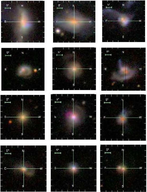 Figure 2: SDSS colour images (g,r,i-band) of typical AGN host galaxies in our sample. Many are interacting or have disturbed morphologies.