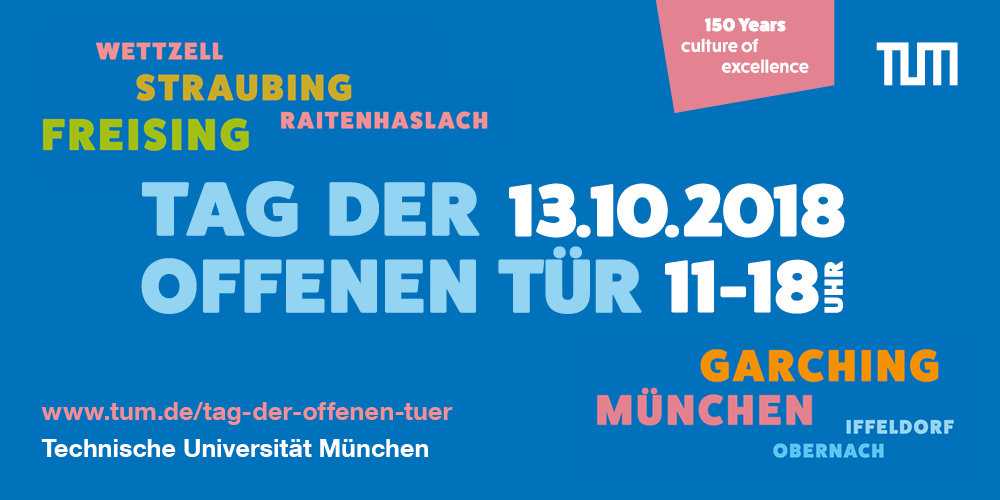 The TUM is organising a special Open Day on the occasion of their 150th anniversary. On 13th Oktober 2018 from 11:00 to 18:00 more than 30 institutes and related organisations will open their doors in Garching - joined by the other campus sites of TUM. MPA will join again in 2019. So this is your chance to visit one of the other institutions this year!