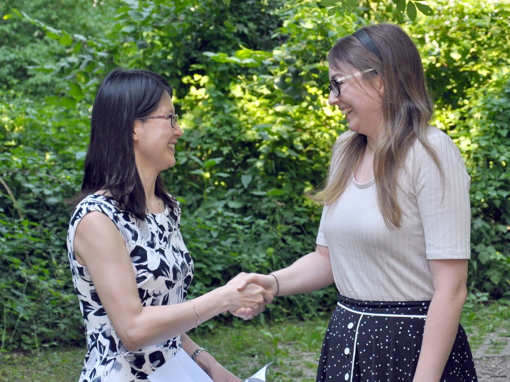Sherry Suyu congratulates Aoife Boyle on behalf of the selection committee.