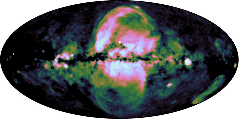 "The first all-sky survey performed by the eROSITA X-ray telescope on-board the SRG observatory has revealed a large hourglass-shaped structure in the Milky Way. These ""eROSITA bubbles"" show a striking similarity to the Fermi bubbles, detected a decade ago at even higher energies. The most likely explanation for these huge features is a massive energy injection from the Galactic centre region in the past, leading to shocks in the hot gaseous halo around our galaxy."